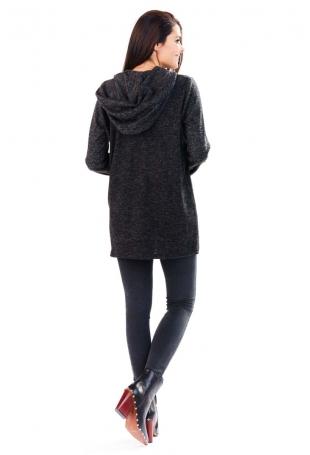 Grafitowy Sweter Asymetryczny bez Zapięcia z Kapturem