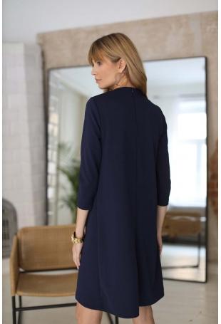 Luźna Sukienka z Kieszeniami - Granatowa