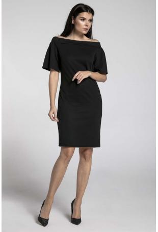 Czarna Ołówkowa Sukienka przed Kolano z Dekoltem Carmen