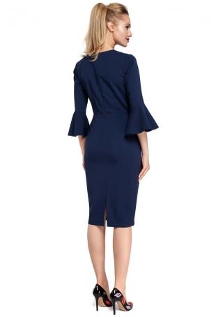 Granatowa Sukienka Ołówkowa Midi z Hiszpańskim Rękawkiem