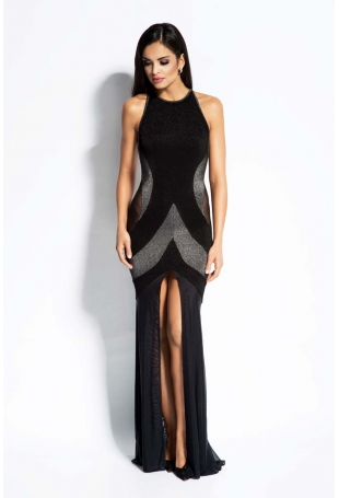 Czarno Srebrna Sukienka Maxi Tuba z Odkrytymi Plecami