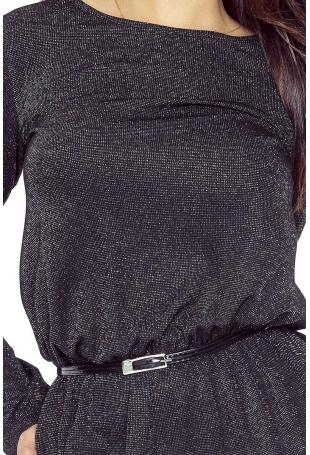 Czarna Sukienka Maxi z Koronką na Plecach