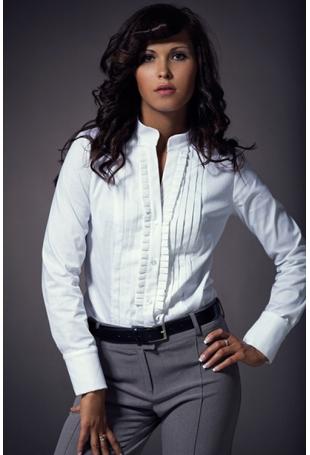 Biała Modna Koszula ze Stójką i Zakładkami