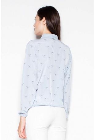 Błękitna Koszula Wzorzysta z Kopertowym Dekoltem V
