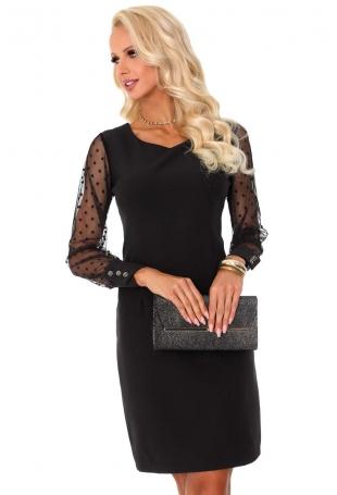 Czarna Wizytowa Sukienka z Tiulowym Rękawem