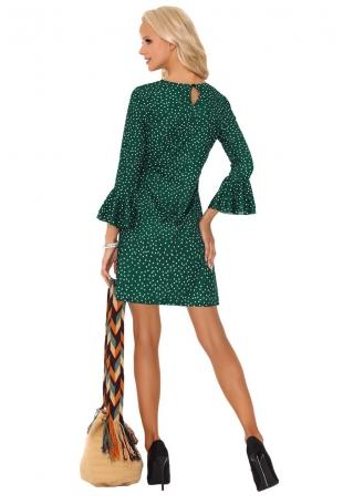 Ciemno Zielona Prosta Sukienka w Kropki z Falbanką przy Rękawach