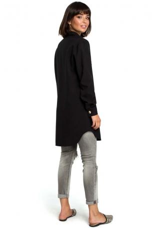 Czarna Długa Koszula z Kieszenią