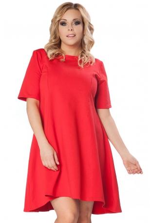 Czerwona Rozkloszowana Sukienka z Wydłużonym Tyłem PLUS SIZE