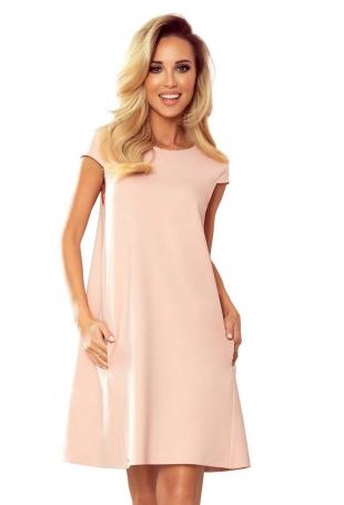 Trapezowa Sukienka z Kieszeniami - Różowa