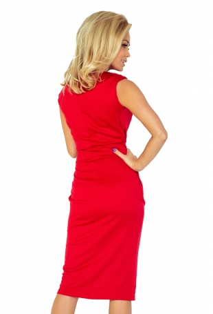 Czerwona Sukienka Elegancka Midi z Zaznaczoną Talią