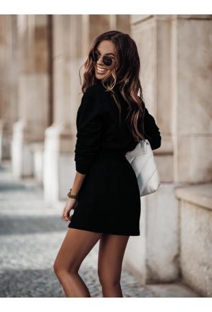 Dresowy Komplet Bluza + Trapezowa Mini Spódnica