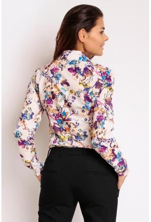 Kwiatowa Biznesowa Koszula z Krytym Zapięciem