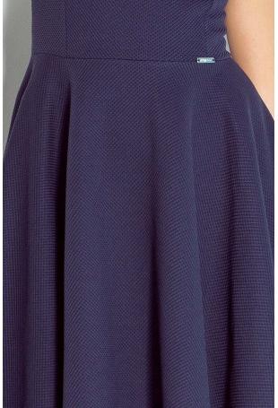Granatowa Sukienka Rozkloszowana z Dekoltem w Łódkę bez Rękawów