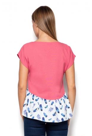 Różowa Bluzka z Wzorzystą Falbanką