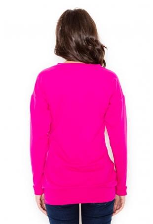 Różowa Długa Casualowa Bluza z Wsuwanymi Kieszeniami