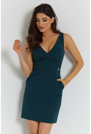 Zielona Stylowa Sukienka Ołówkowa na Szerokich Ramiączkach