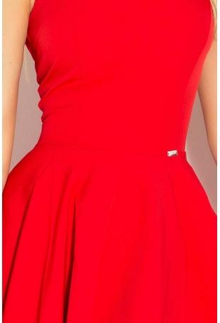 Czerwona Sukienka Elegancka Rozkloszowana na Szerokich Ramiączkach