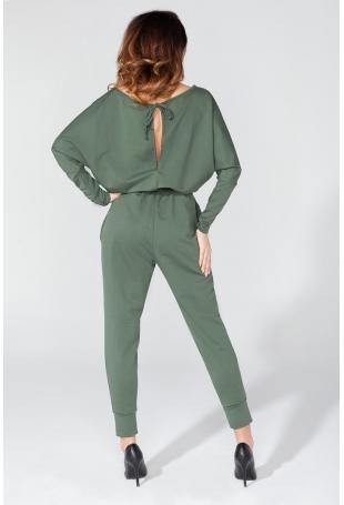 Zielony Kombinezon Kimono z Kieszeniami