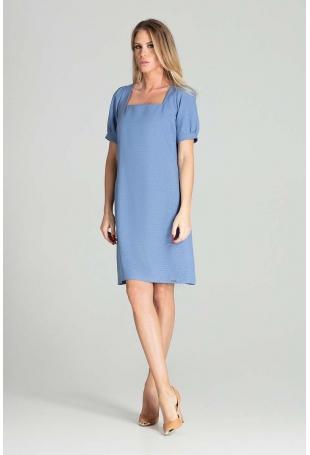 Prosta Sukienka z Kwadratowym Dekoltem - Niebieska