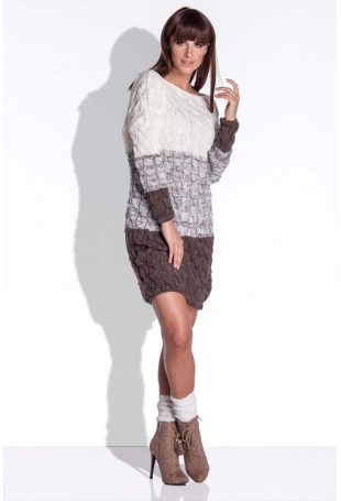 Espresso Swetrowa Sukienka w Paski z Fakturą