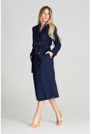 Dwurzędowy Płaszcz Trencz z Paskiem - Granatowy