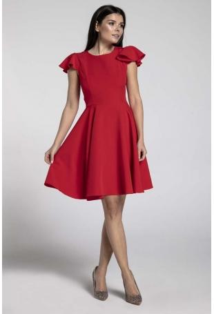 Czerwona Rozkloszowana Sukienka z Rękawkiem Typu Motylek