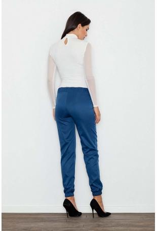 Niebieskie Komfortowe Spodnie z Gumkami