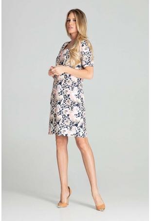 Prosta Sukienka z Kwadratowym Dekoltem - Wzór 112