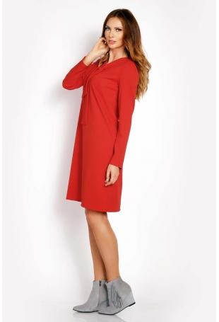 Czerwona Sukienka Trapezowa z Krawatką