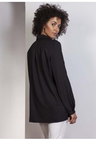 Czarna Koszula Oversize z Kieszeniami