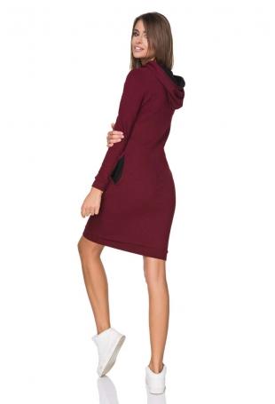 Bordowa Sukienka Dresowa z Kolorowym Kapturem