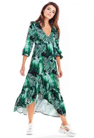 Zielona Asymetryczna Sukienka Midi z Florystycznym Motywem
