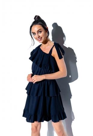 Granatowa Zwiewna Sukienka Wiązana na Jedno Ramię