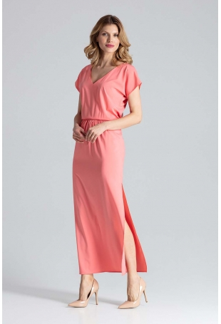 Koralowa Sukienka Maxi w Liście z Dekoltem V