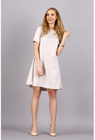 Beżowa Trapezowa Wygodna Sukienka z Krótkim Rękawem