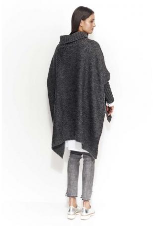Grafitowy Ciepły Sweter Oversize z Golfem