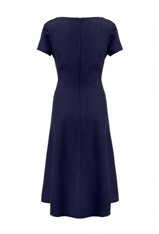 Granatowa Klasyczna i Elegancka Sukienka Midi