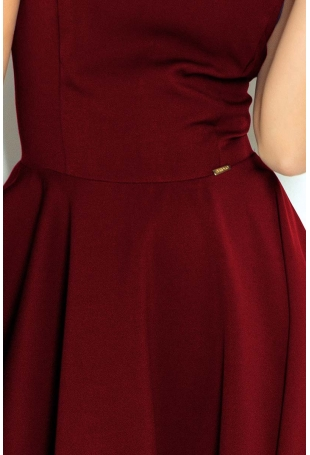 Bordowa Sukienka Elegancka Rozkloszowana na Szerokich Ramiączkach