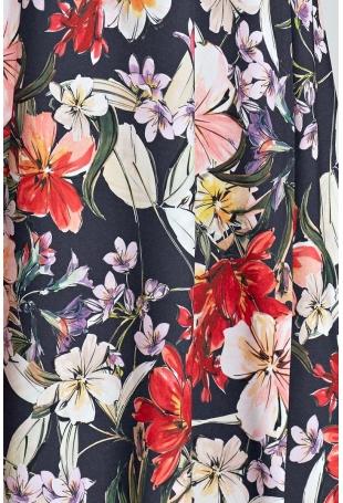 Granatowa Wzorzysta Sukienka z Zakładkami w Talii