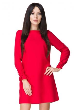 Czerwona Sukienka Wizytowa z Wiązaniami