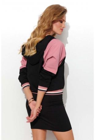 Czarny Komplet Dresowy Bluza na Suwak i Spódnica z Lampasem