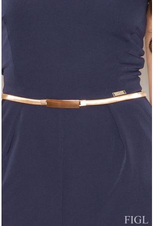 Niebieski Elegancki Gorsetowy Kombinezon z Paskiem