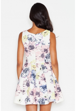 Letnia Sukienka na Szerokich Ramiączkach w Pastelowe Kwiaty
