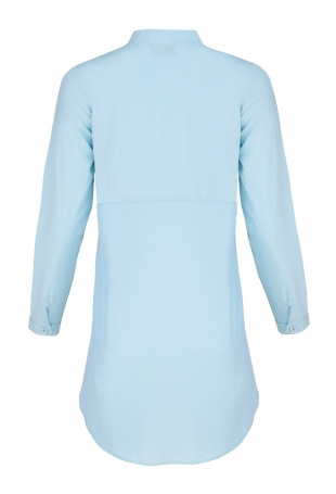 Niebieska Koszula -Tunika Zapinana Na Zatrzaski