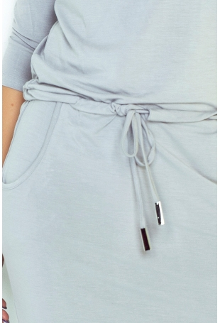 Cementowa Sukienka Sportowa Ściągana w Pasie
