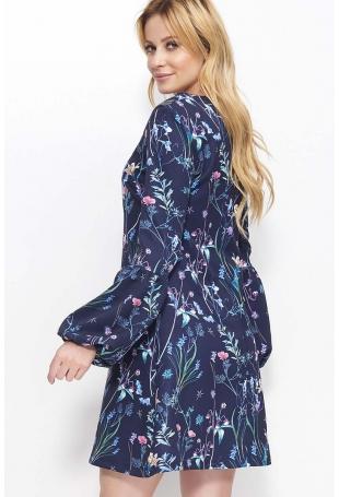 Granatowa Sukienka Trapezowa w Kwiaty z Bufiastym Rękawem