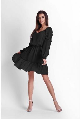 Czarna Zwiewna Szyfonowa Sukienka w Stylu Boho