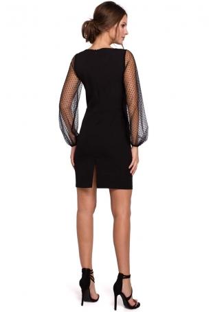 Czarna Szykowna Sukienka z Tiulowym Rękawem