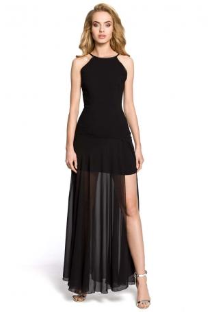 Czarna Wieczorowa Seksowna Maxi Sukienka