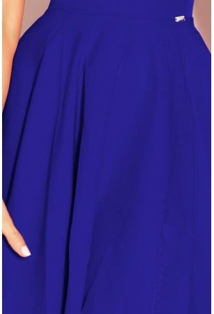 Chabrowa Sukienka Elegancka Rozkloszowana na Szerokich Ramiączkach